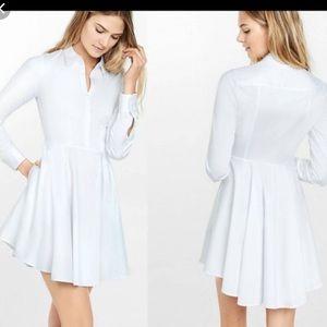 Express long sleeve white shirt dress